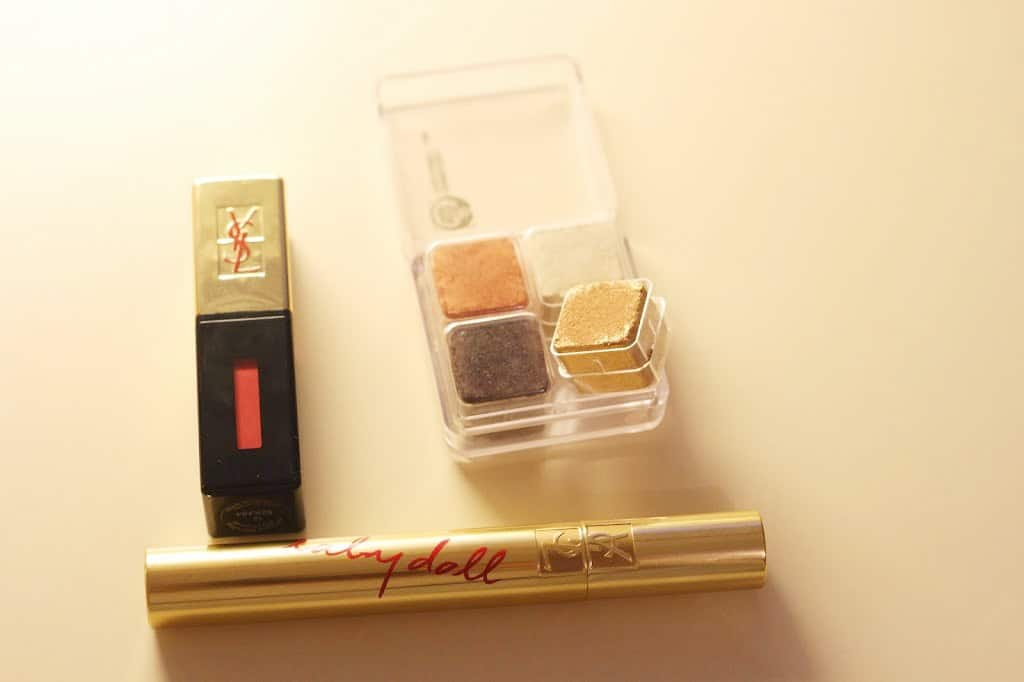 Body shop shimmer cubes, YSL lip gloss and YSL babydoll mascara