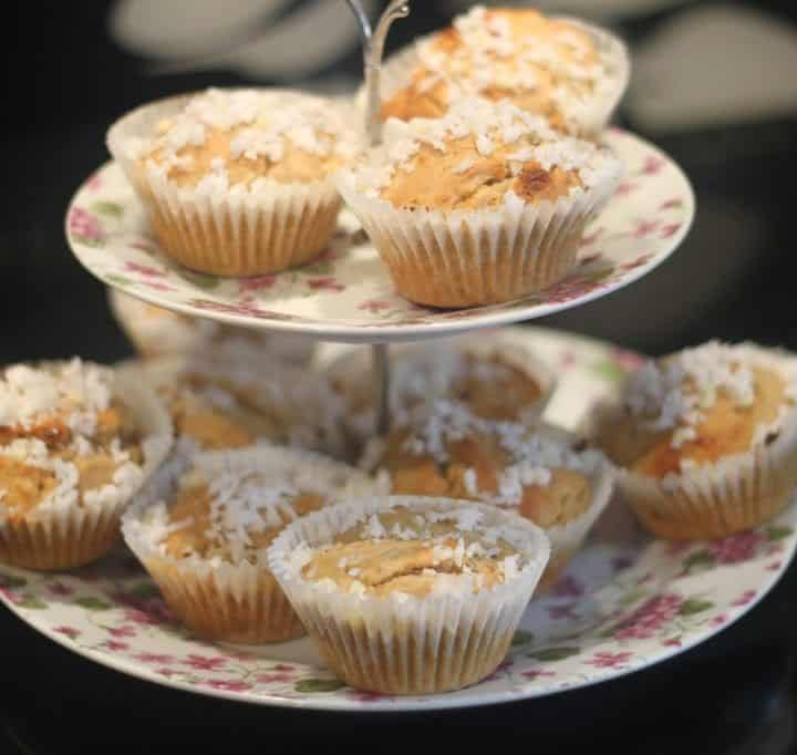 Lime, coconut and white chocolate muffins