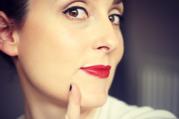 easy red lips make up look and skincare routine featuring Dermalogica from Pure Beauty