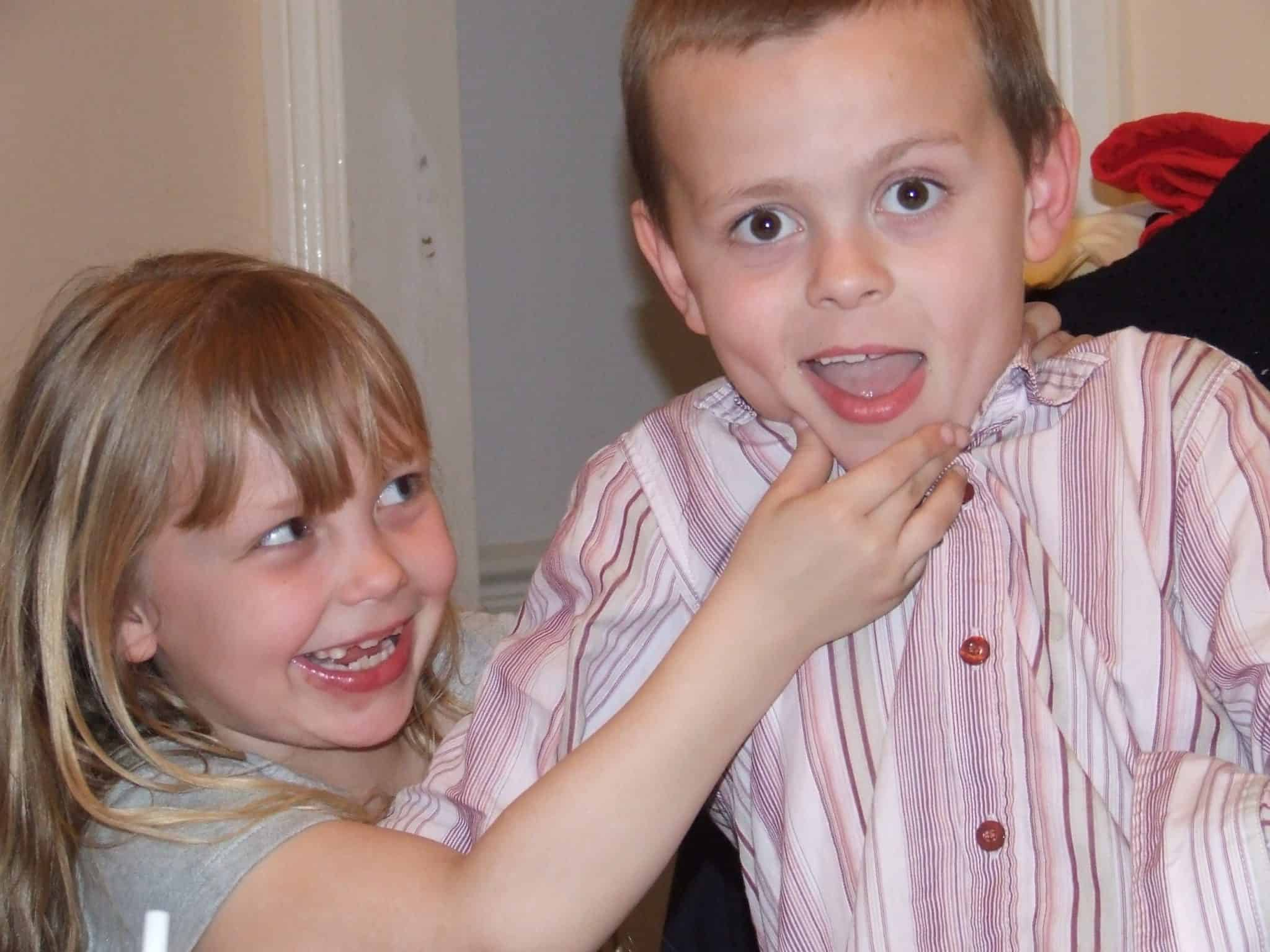 Two kids mucking about