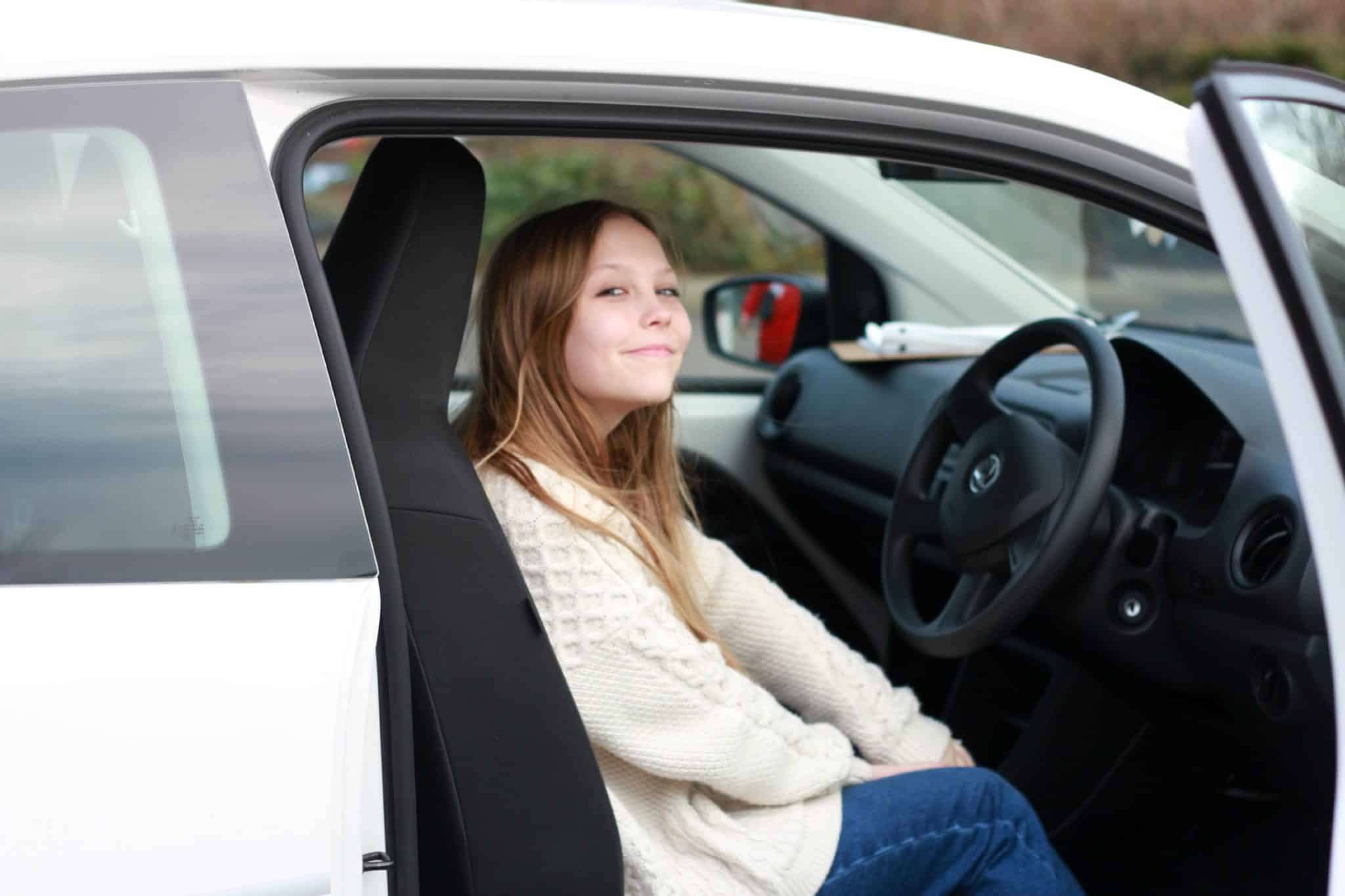 Young driver-holly in car