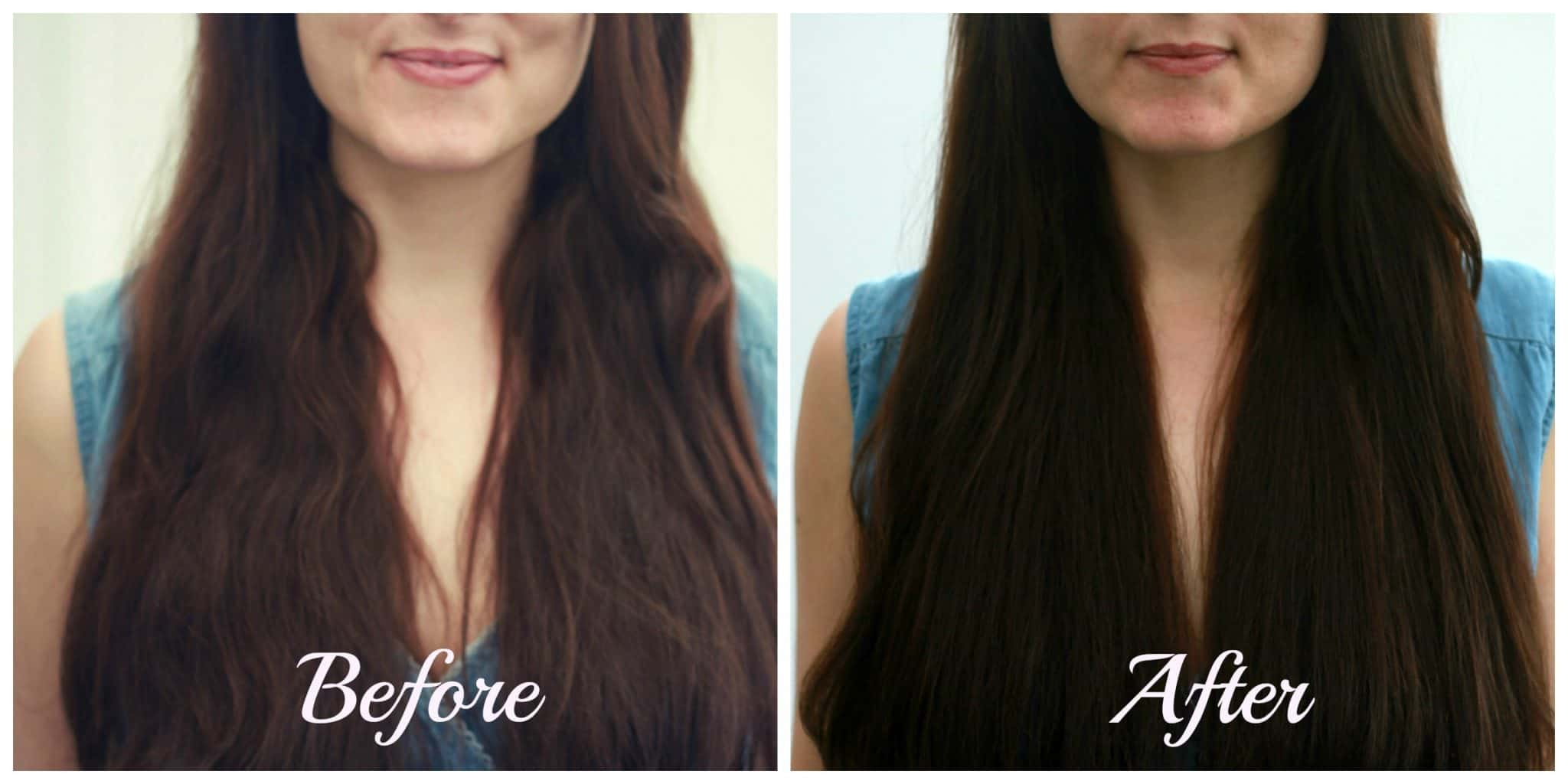 hair glaze before and after collage