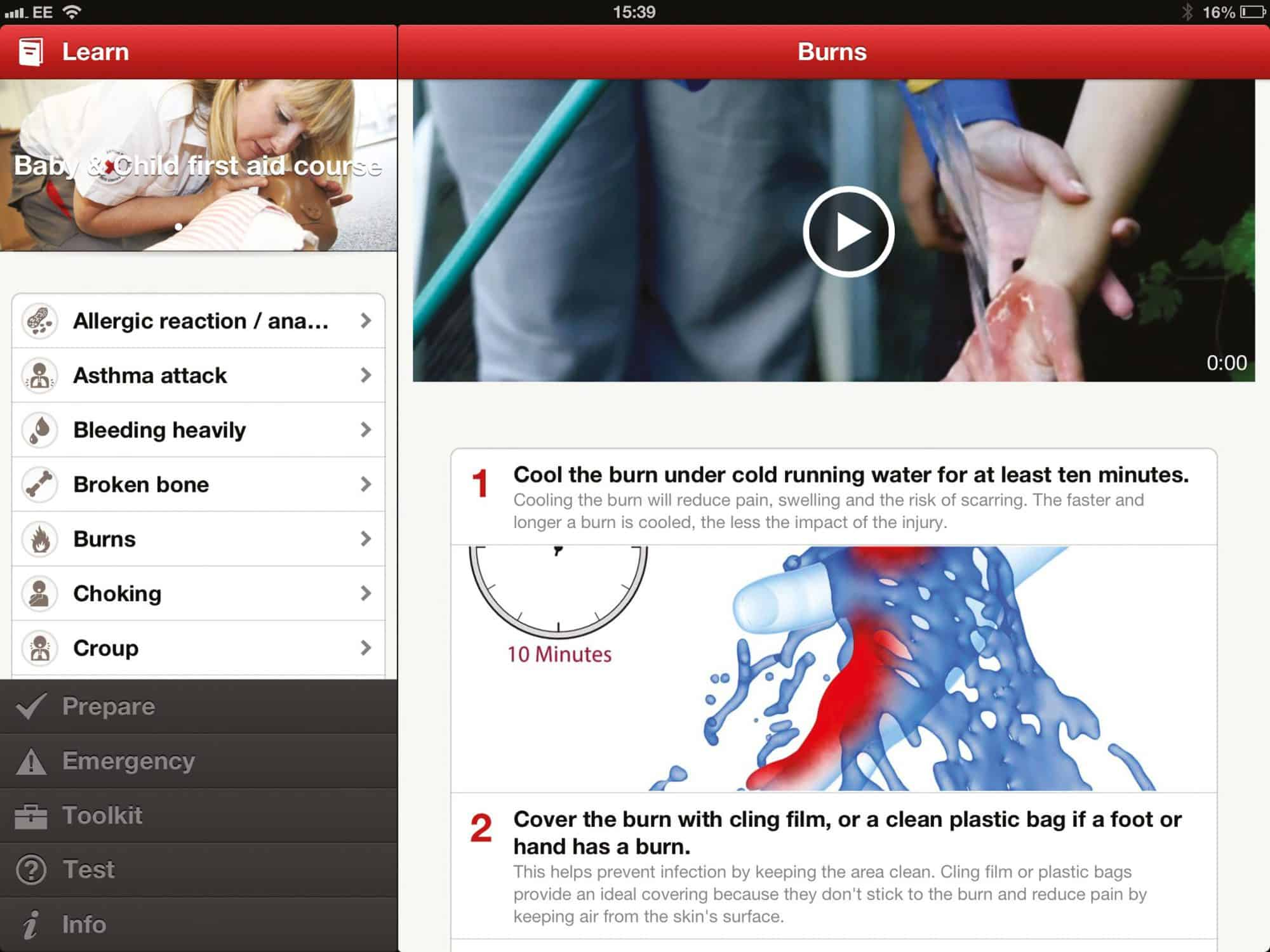 Screen shot of First Aid App from British Red Cross