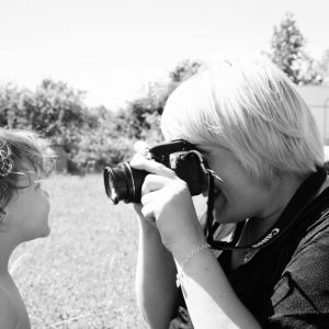 Taking a photograph of a toddler