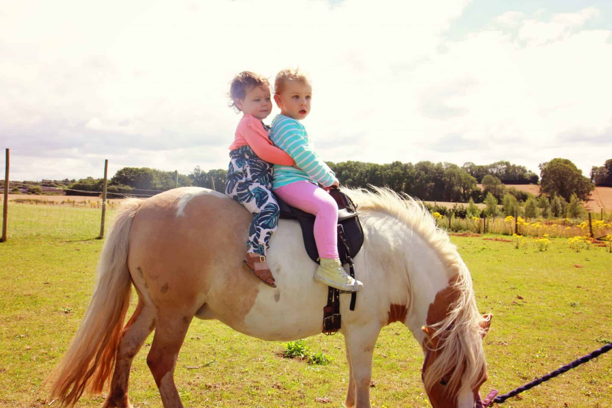 two little girls riding a shetland pony