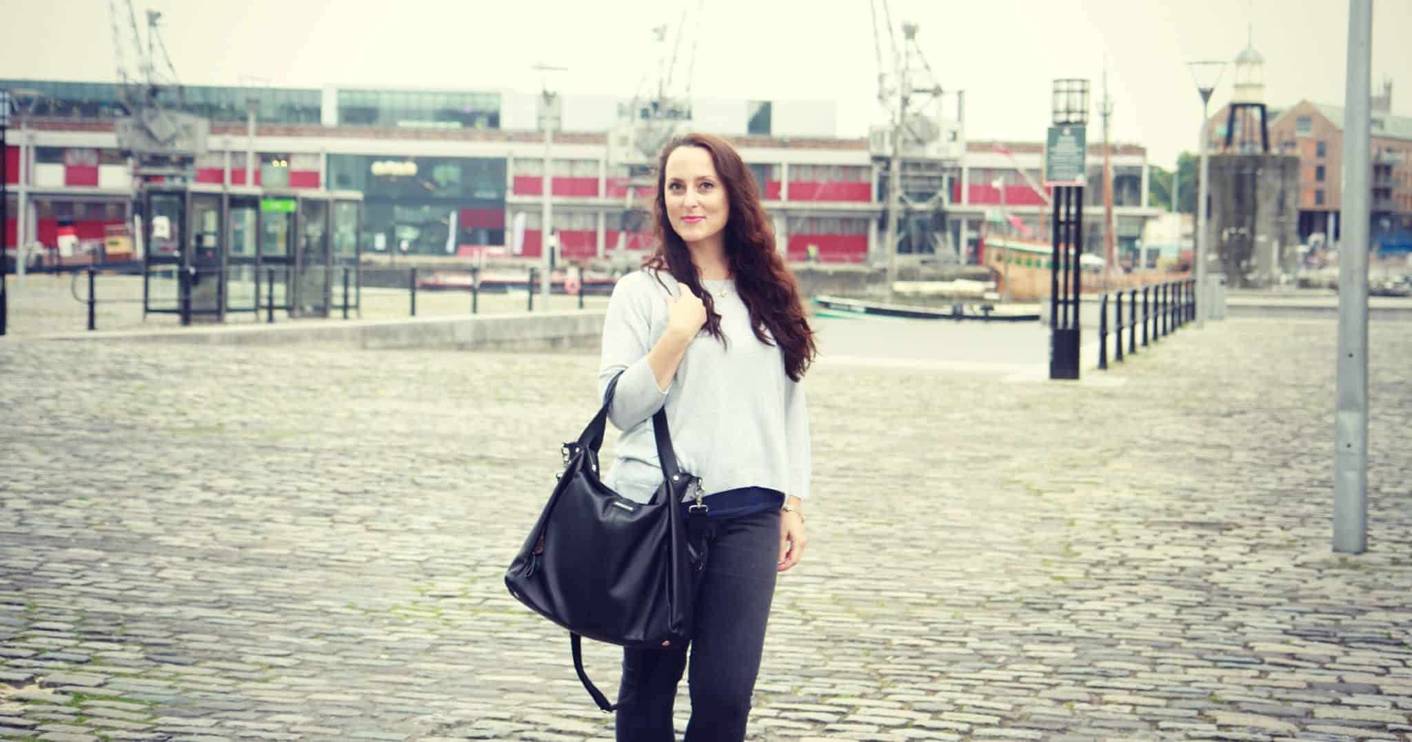 Wearing jumper from Whistles, Topshop jeans and Storksak changing bag