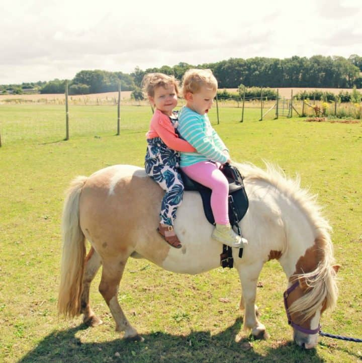 two girls riding a shetland pony