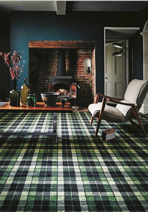 Dynamic pairing inspired room with tartan floor