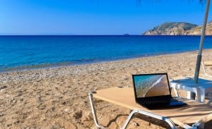 Picture of using technology on holiday