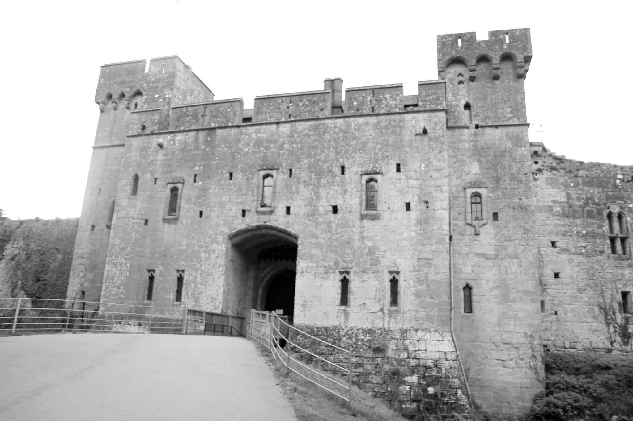 Black and white image of Caldicot Castle