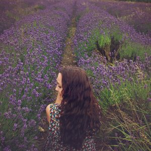 Sitting in a field full of lavender