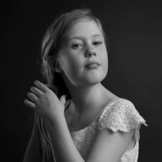black and white studio portrait