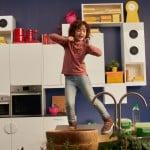 Picture of kid dancing on the top of Ikea kitchen worktop!
