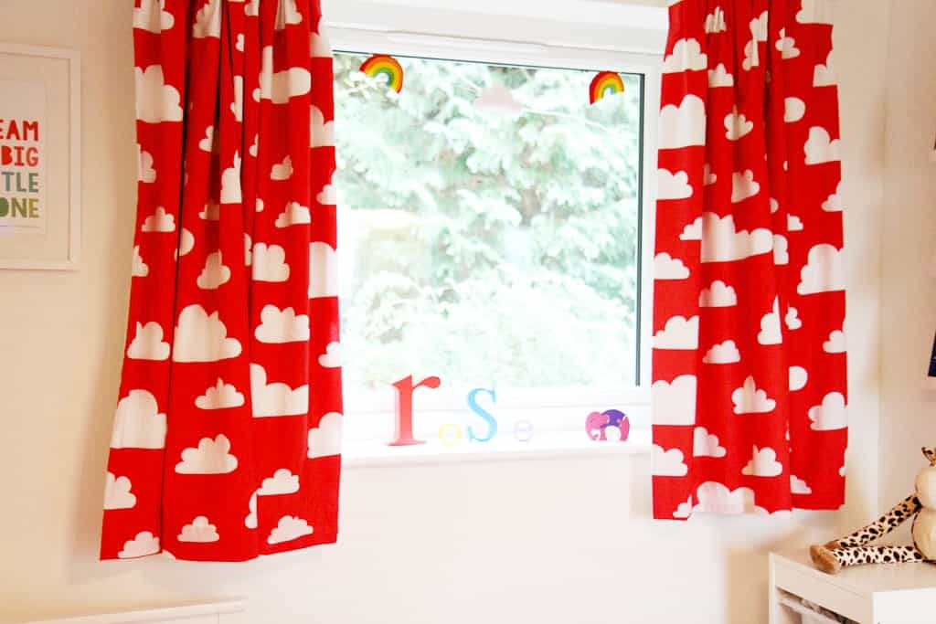 Farg and Form red cloud curtains