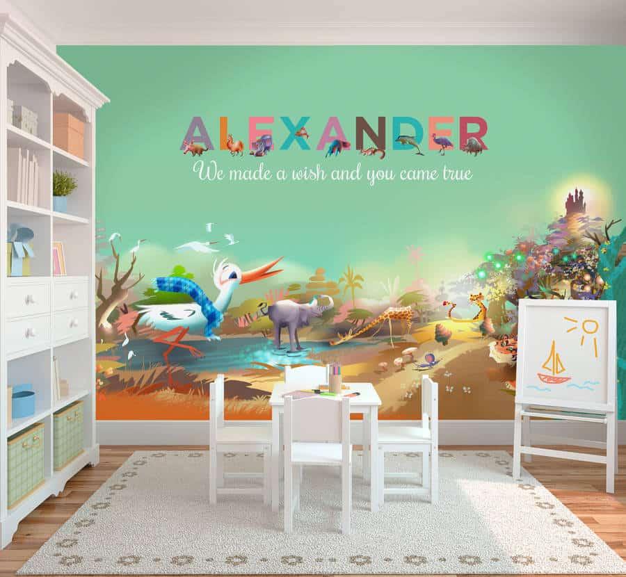 Children's wallpaper personalised