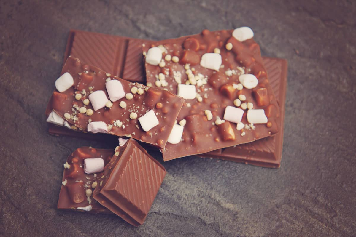 Rocky road and honeycomb and orange milk chocolate bars