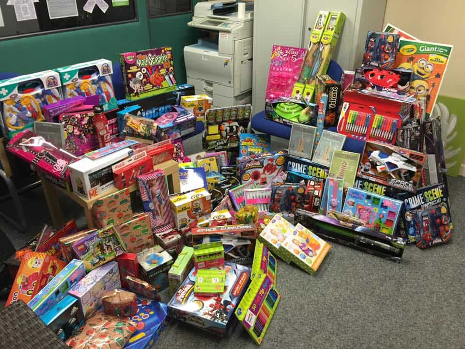 A heap of toys collected for a women's refuge