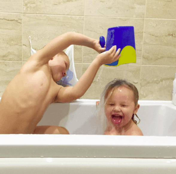 kids messing around in the bath