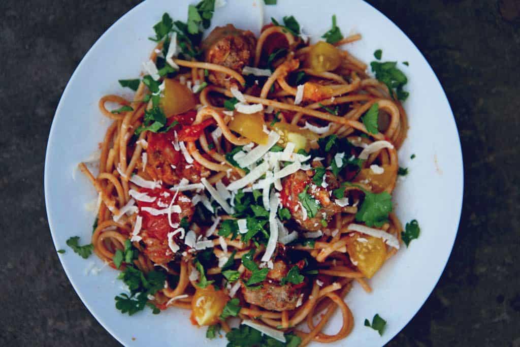 spaghetti, tomato sauce with Maltese sausage meatballs