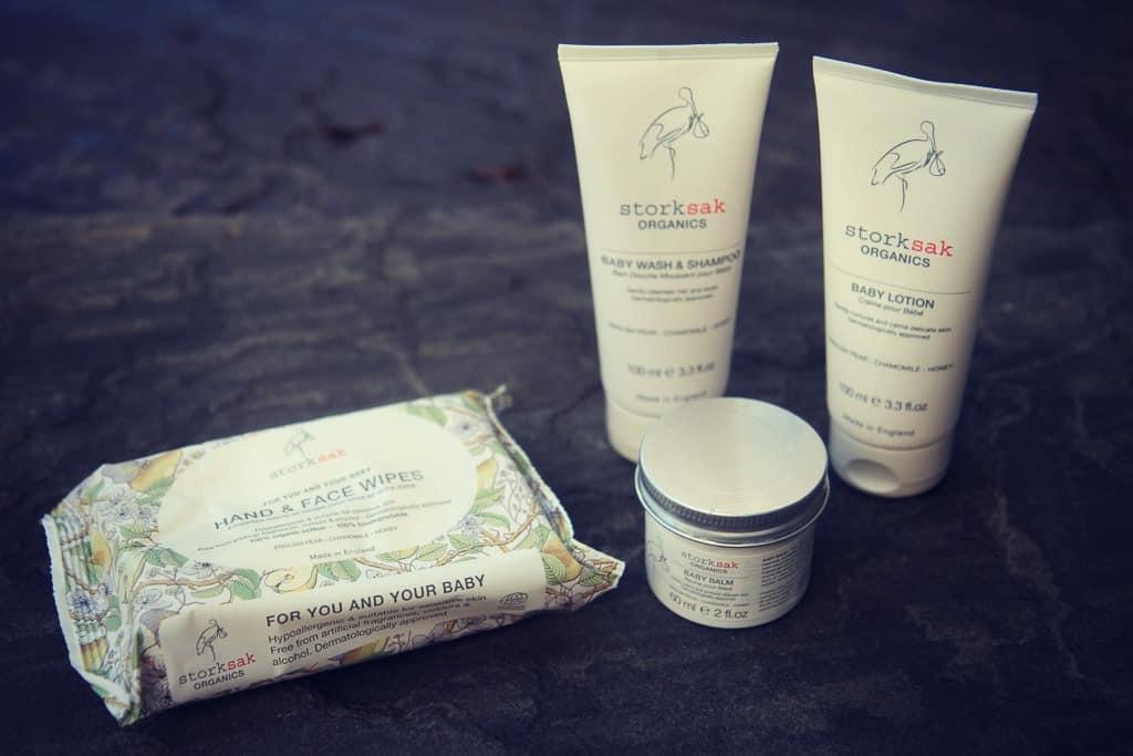 Storksak Organics: baby balm, body wash and shampoo, lotion and wipes