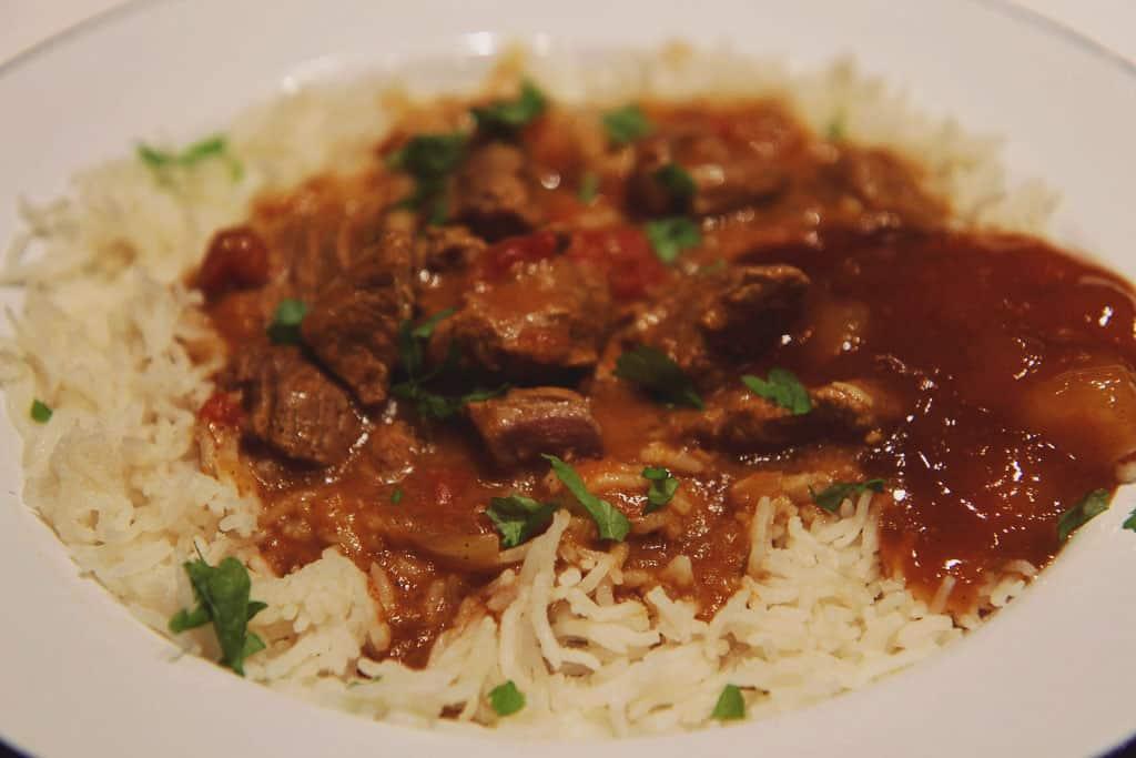 Lamb curry with basmati rice and mango chutney