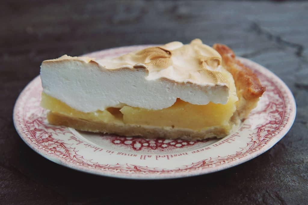 Lemon meringue pie using homemade sweet shortcrust pastry