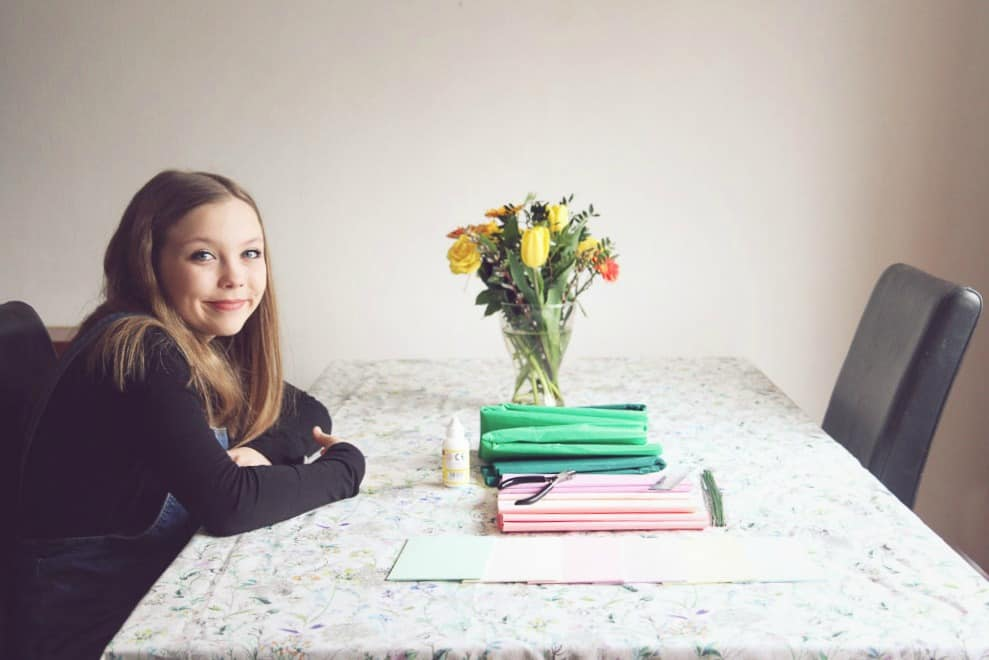 Holly getting ready to craft with Cath Kidston