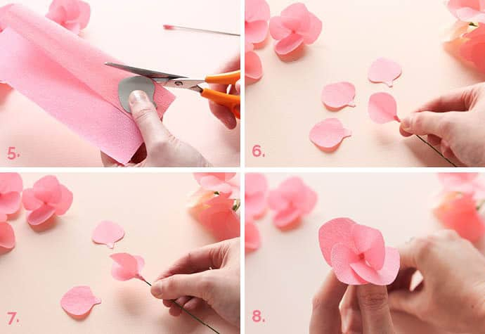 Step by step how to make paper hydrangeas