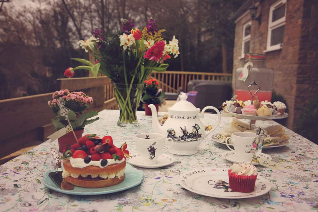 An Alice in Wonderland themed tea party