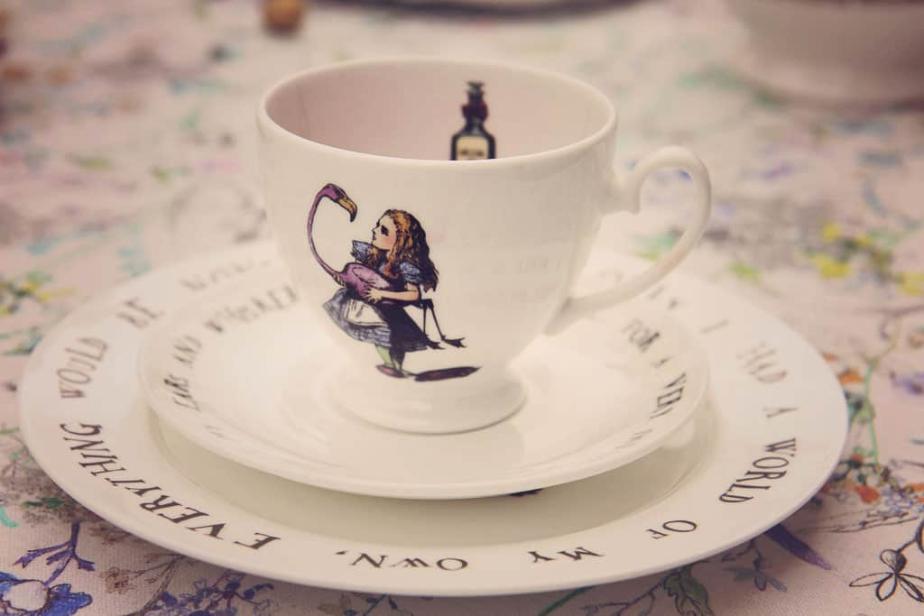 Teacup & saucer and plate from the Alice in Wonderland collection at Amara