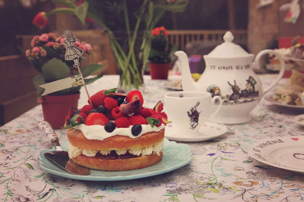 A victoria sponge for our Alice in Wonderland themed tea party