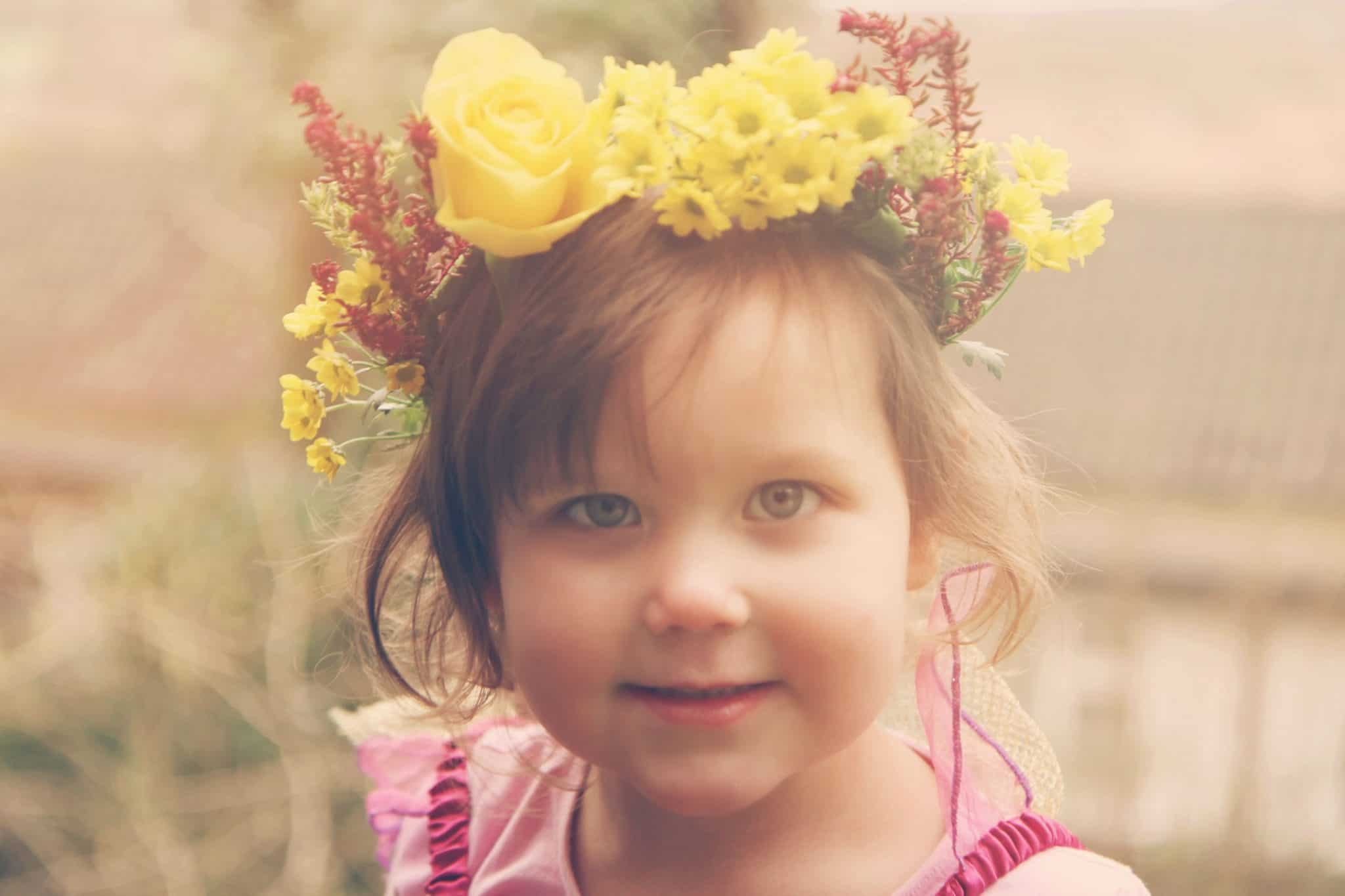 How to make a spring flower crown amy treasure a little girl in a handmade beautiful flower crown made from fresh flowers izmirmasajfo Gallery