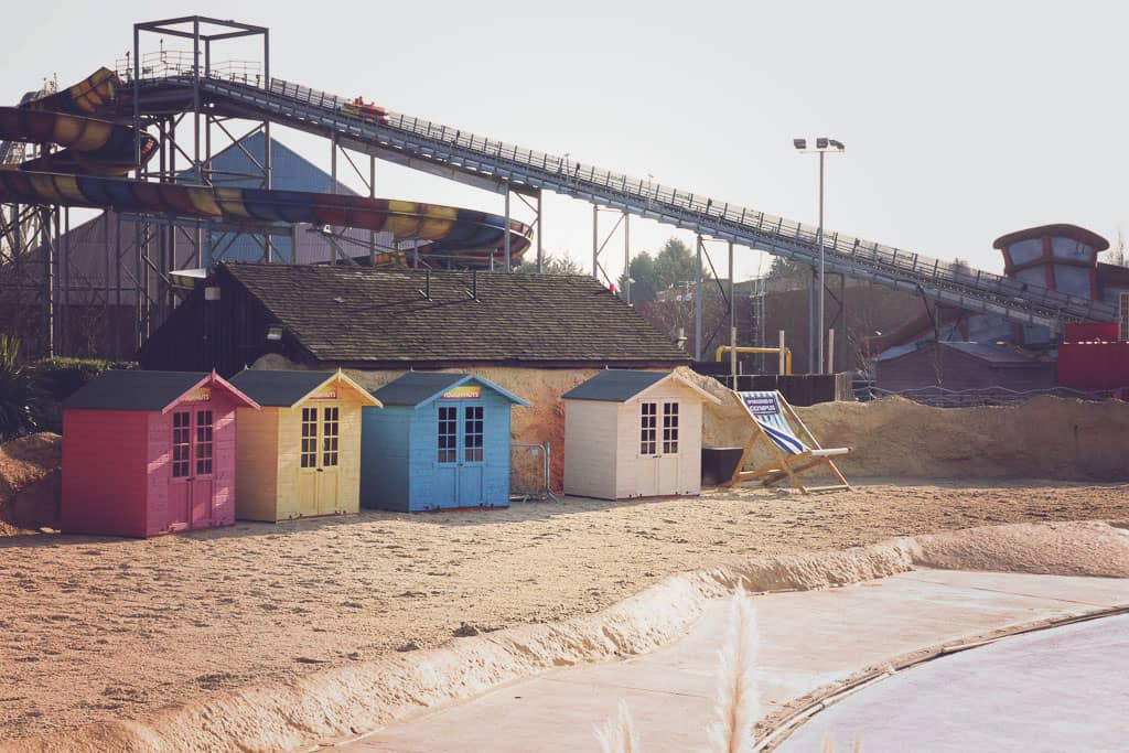 The beach huts at Amity Beach Thorpe Parl