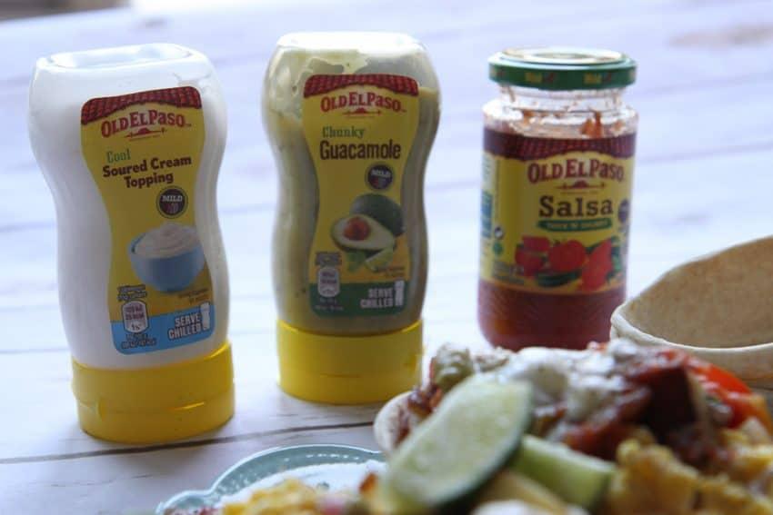 Guacamole, sour cream and salsa from Old El Paso