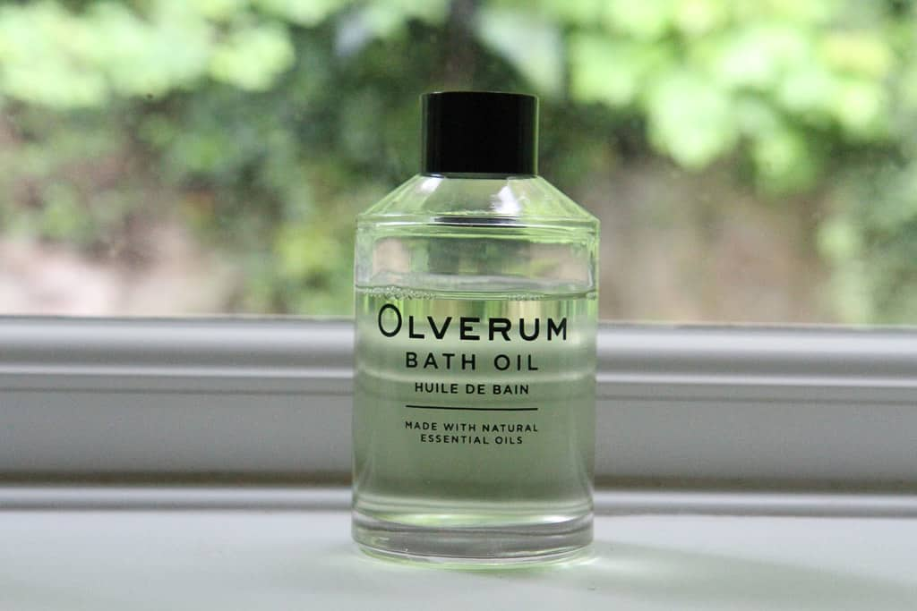Olverum bath oil glass bottle