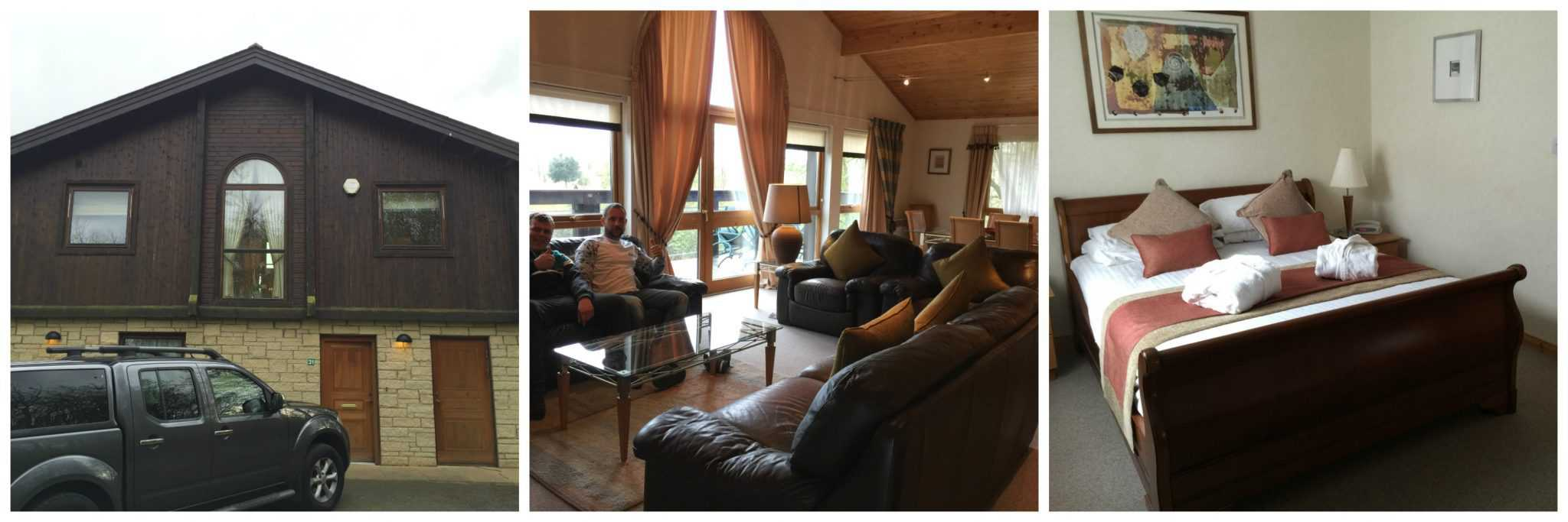 Outside, lounge and bedroom at Belton Woods Q Lodges