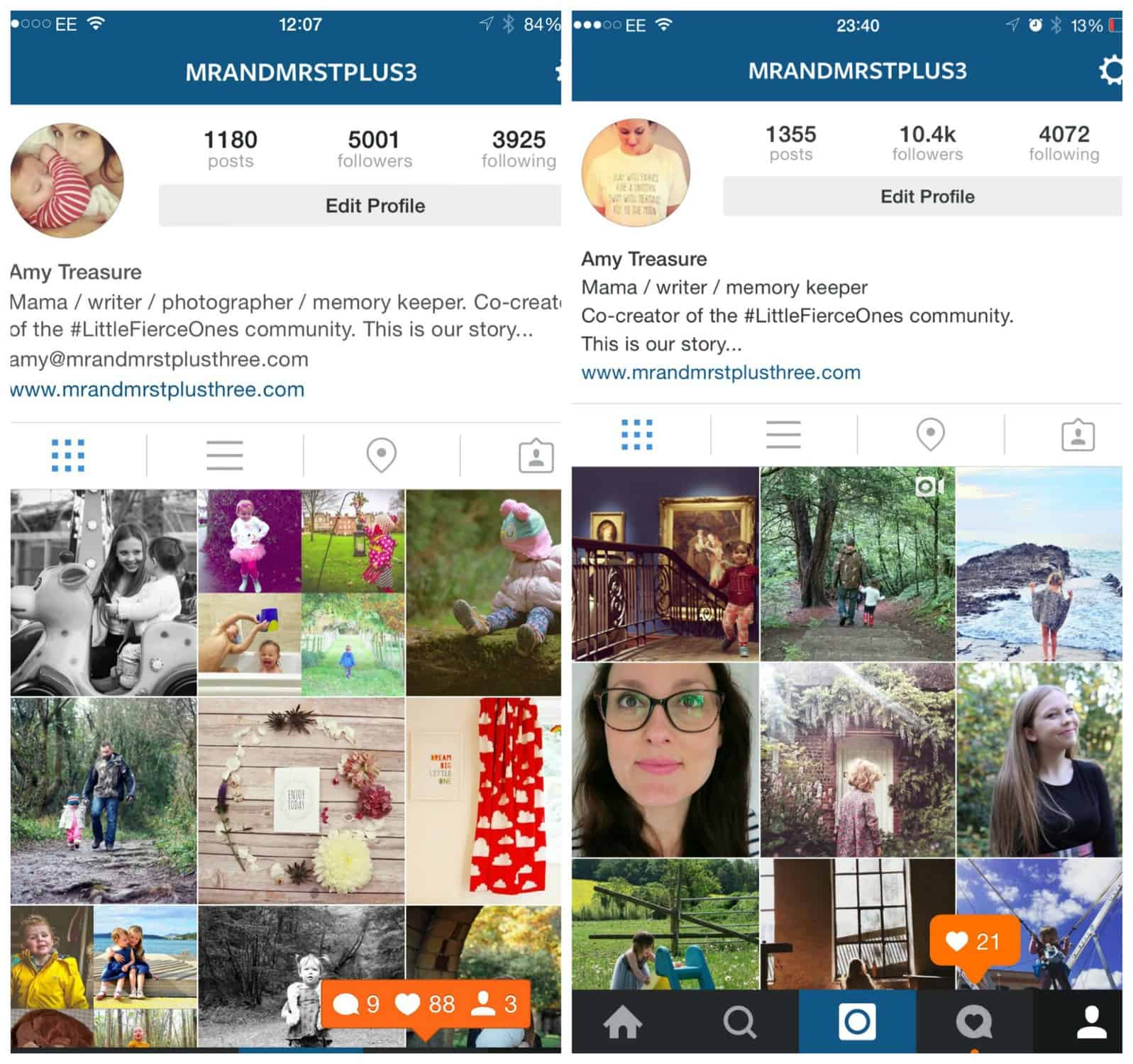 IG snapshot follower numbers compared side by side. How I doubled my follower numbers from 5k to 10k