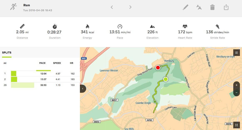 screenshot from a run wearing TomTom Spark