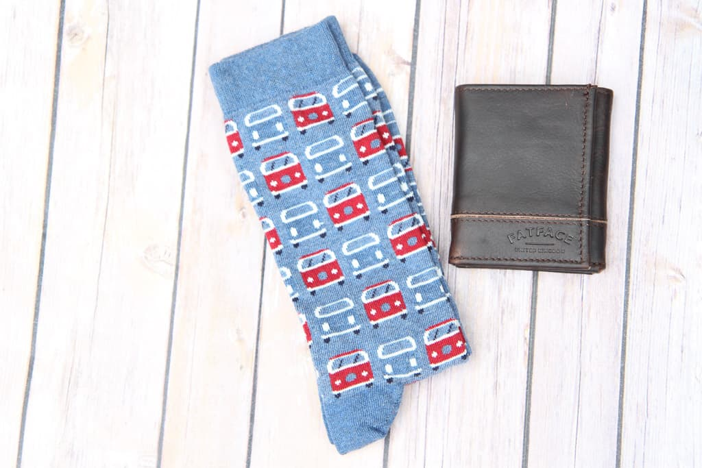 Campervan socks and leather wallet both from FatFace