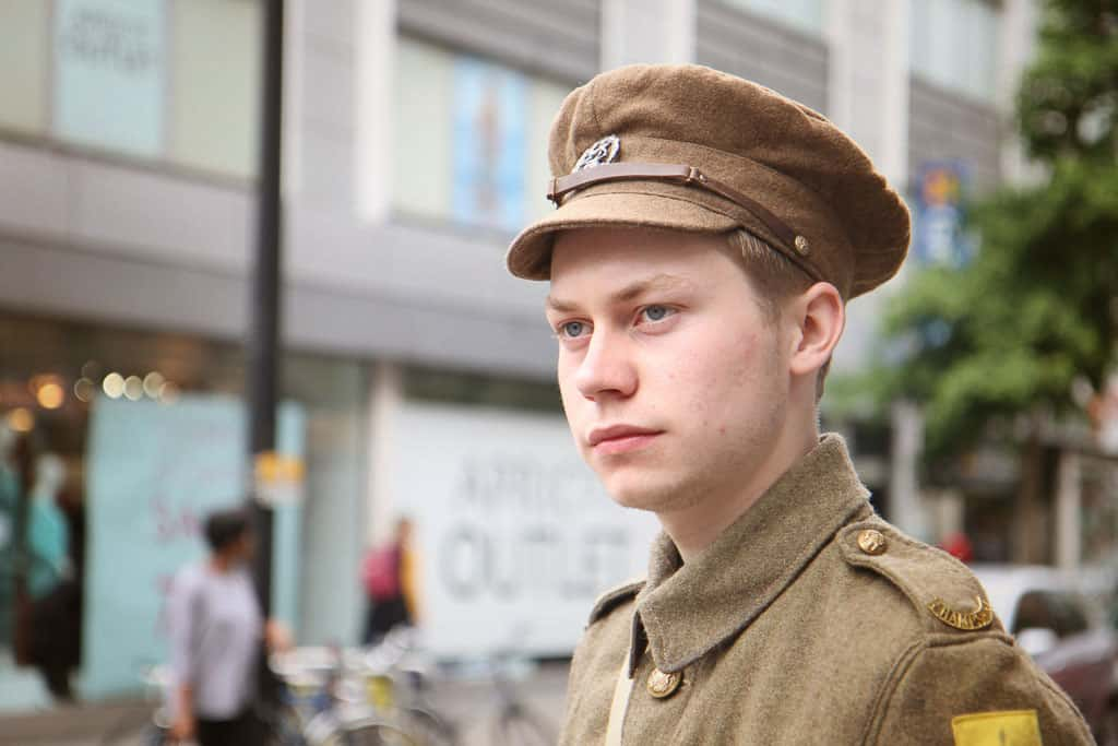 A young man dressed in WW1 uniform to commemorate the Battle of the Somme