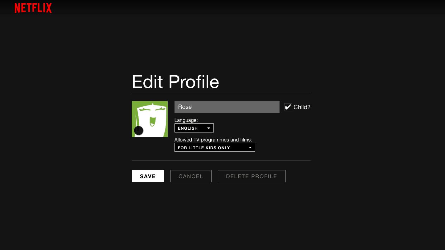 Kid's profile on Netflix