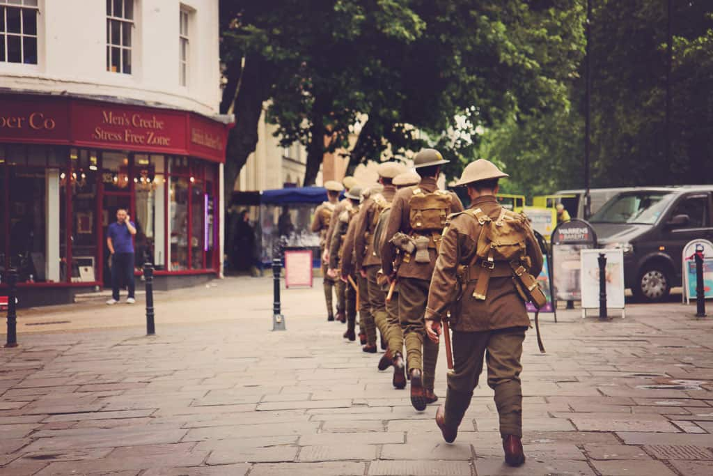 Group of men dressed as soldiers to commemorate The Battle of the Somme
