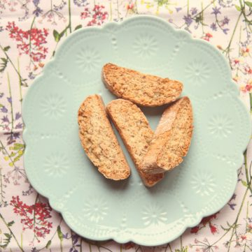 Orange and hazelnut biscotti on a plate