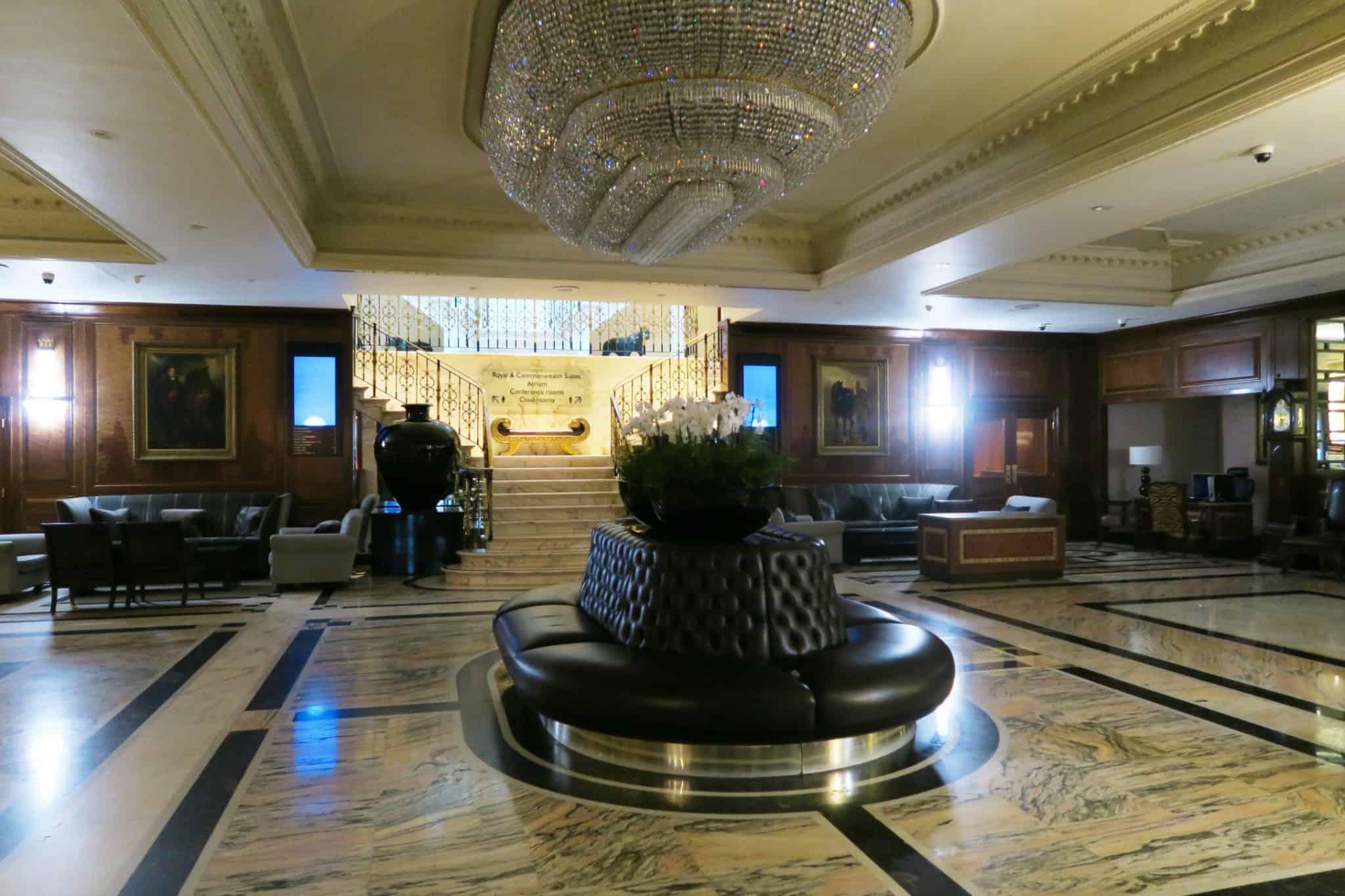 Foyer with chandelier at Raddison Blu Hotel