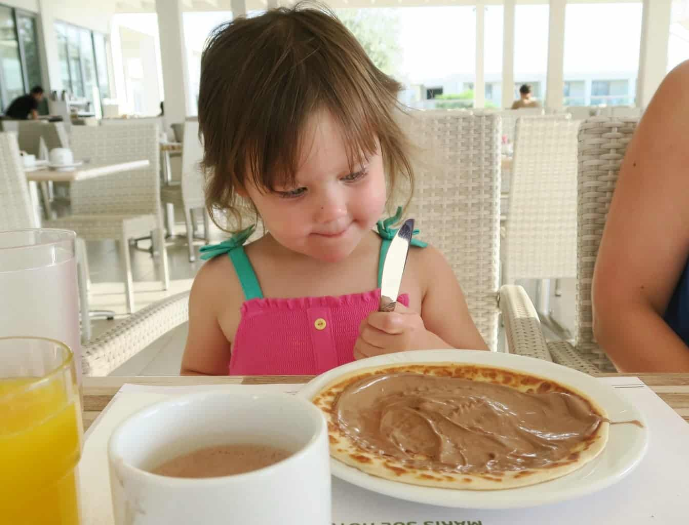 Pancakes and breakfast buffet at Levante Beach hotel, Rhodes