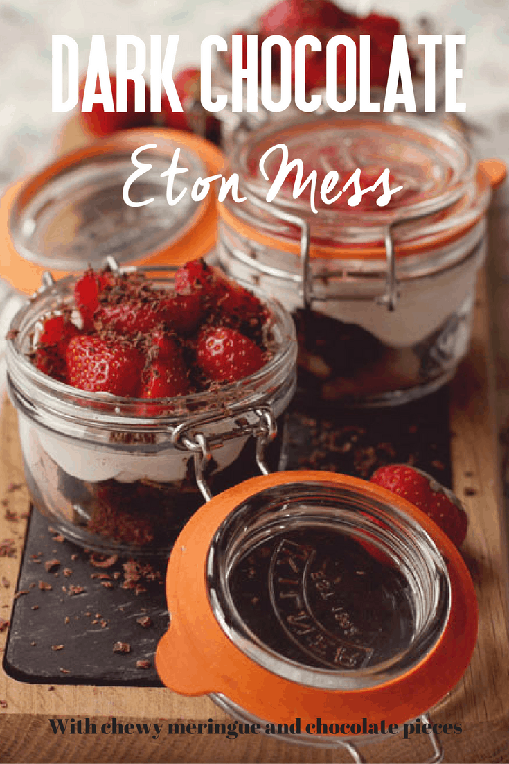 A twist on the traditional Eton Mess using a chewy dark chocolate  meringue base with hidden chocolate pieces. Click through to see how you can easily make your own Dark Chocolate Eton Mess