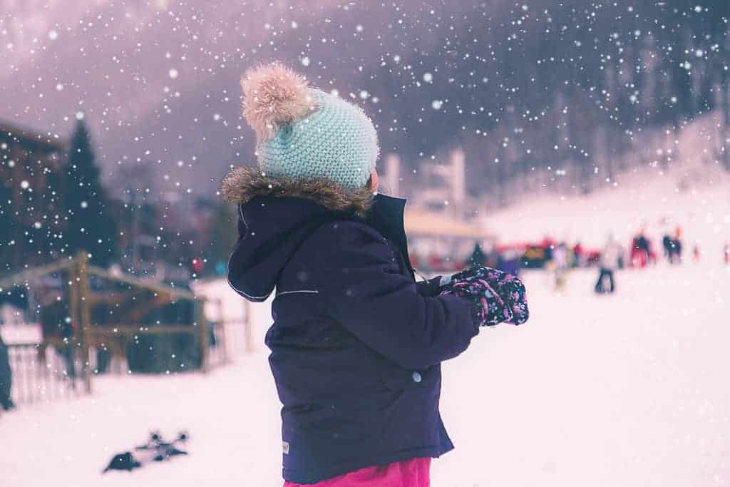 On the slopes in the snow, Val d'Isere. Toddler skiing essentials.