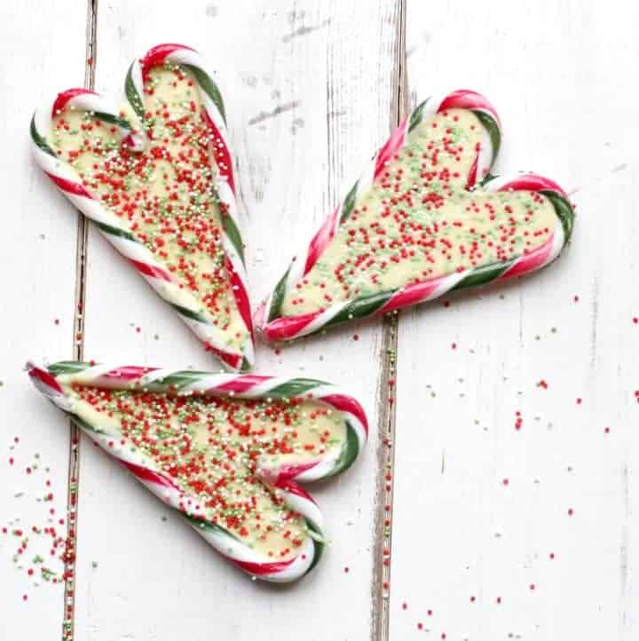 Candy cane hearts with white chocolate centres