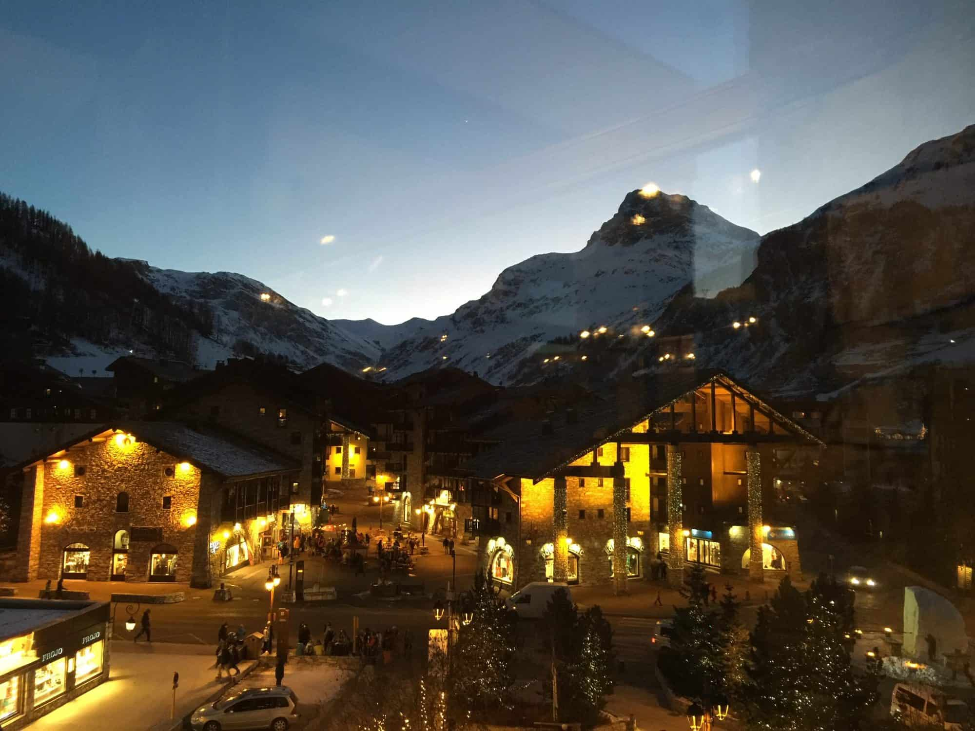 View of the olympic downhill slope from Mark Warner restaurant window in Val d 'Isere