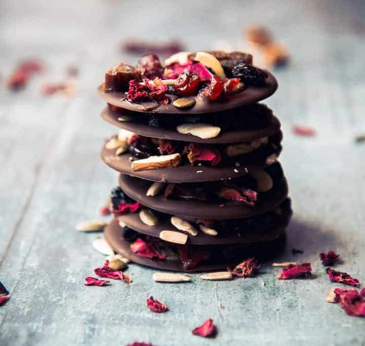 Healthy fruit and nut dark chocolate thins